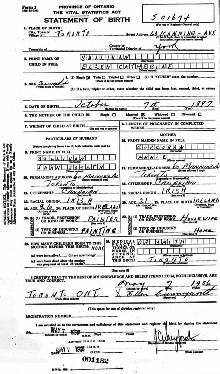 Ellen Catherine Sullivan Statement of Birth