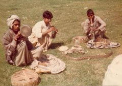 Photo of snake charmers in Delhi, 1975