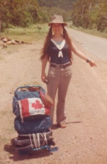 Photo of Mich�le hitching in Queensland 1975